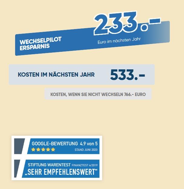 Erfahrung mit Wechselpilot. 233€ Einsparung sind machbar für mich. Davon geht aber noch die Provision von 20% ab.